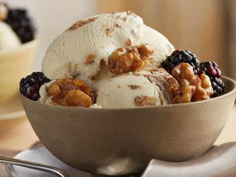 Brown Butter Walnut Ice Cream with Black Pepper & Blackberries