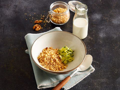 Savory Walnut Granola with Ayran & Cucumber (vegetarian)