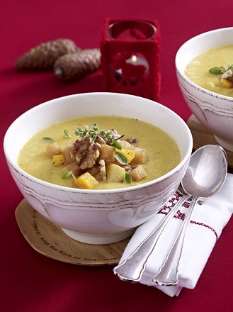 Fine Rutabaga Soup with Walnut Croutons