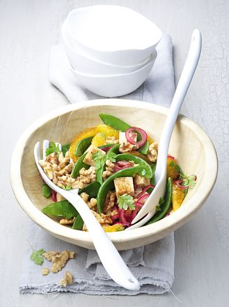 Fruity snow pea salad with walnuts and tofu