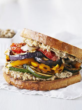 Grilled Vegetable Sandwich with Walnut Aioli