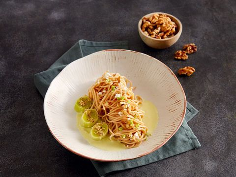 Walnut Noodles with Leek Mousse & Goat Cheese (vegetarian)