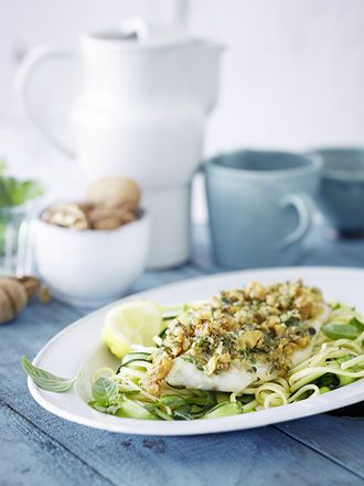 Walnut-crusted pikeperch with linguine